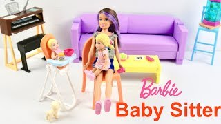 Barbie Babysitter & Nursery Toys playset with Dolls pram, cot, highchair and baby dolls