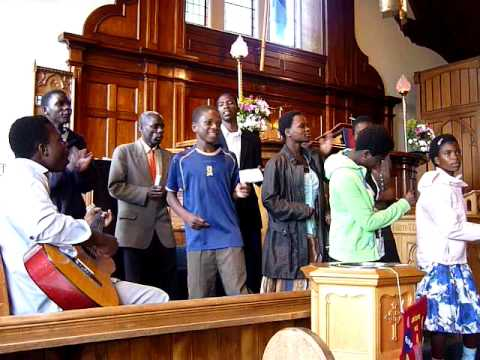 Malawi group singing in Rosskeen Church, Alness