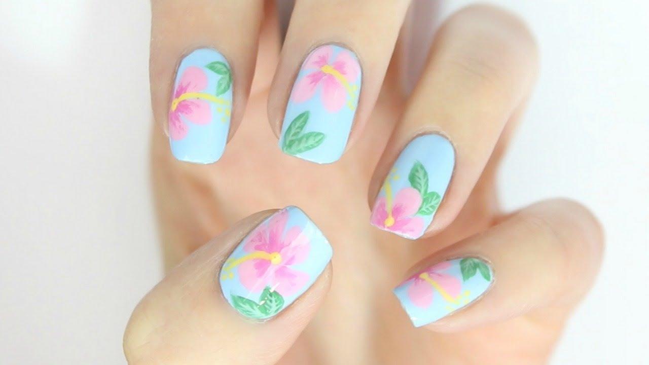 Hawaii Inspired Hibiscus Nail Art! - YouTube