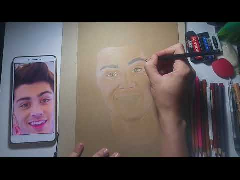 Timelapse Drawing: Zayn Malik, Colored Pencils on Brown Craft Paper
