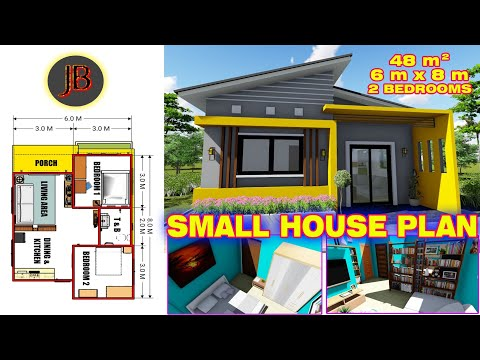Small House Plan Of 48 Sq M With 2 Bedrooms With Floor Plan Interior Layout Youtube