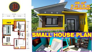Small House Plan Of 48 Sq.m. With 2 Bedrooms With Floor Plan & Interior Layout