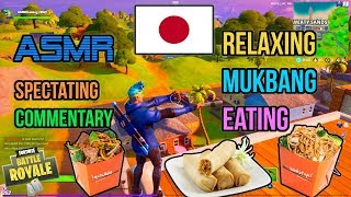 ASMR Gaming ???????? Fortnite Mukbang Eating Japanese Takeout Soba, Rice, Egg Rolls 먹방 ???????? Relaxing ????????