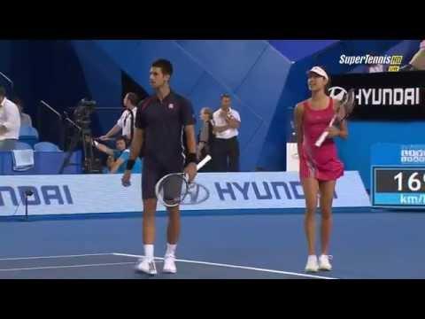 Ana Ivanovic Throwing A Ball At Novak Djokovic To Stop Him Dancing (Funny)