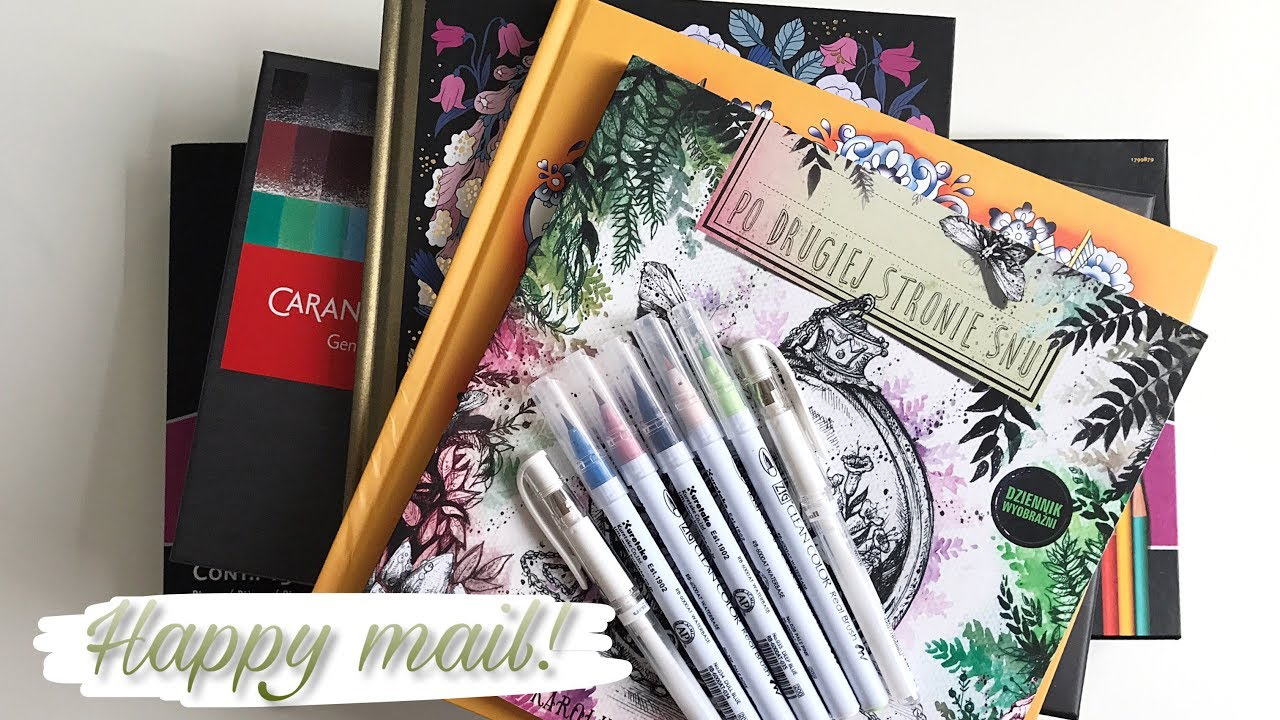 HAPPY MAIL: Coloring books, pencils & more! - YouTube