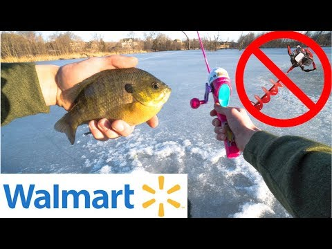 $25 Walmart IMPOSSIBLE ICE FISHING Challenge!! (No Drill Used)