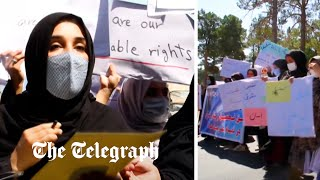 video: Afghan women protest against Taliban in rare show of defiance