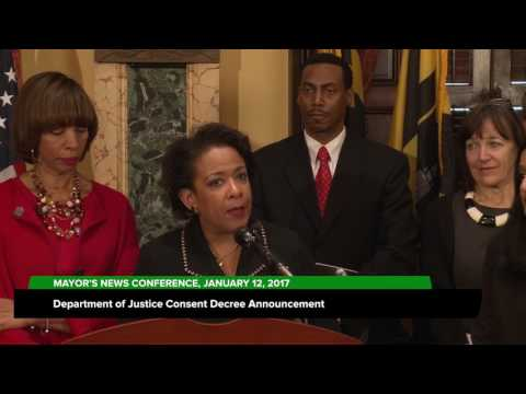 DOJ Consent Decree Announced; January 12, 2017