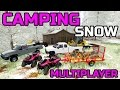 FARMING SIMULATOR 2017 | CAMPING IN THE SNOW | MULTIPLAYER | BUILDING A CAMPING SPOT