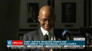 Chief Justice Mogoeng Mogoeng speaks after receiving party lists