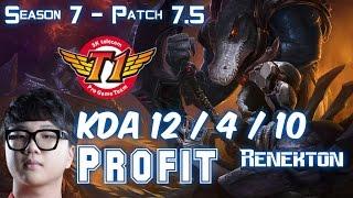 SKT T1 Profit RENEKTON vs RIVEN Top - Patch 7.5 KR Ranked