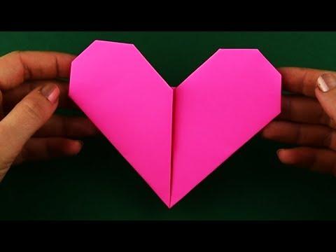 Как сделать сердце из бумаги легко и просто. Очень простое оригами. Пошаговая сборка за 5 минут