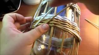 Корзинка с бабочками из газетных трубочек. урок 6. Плетение загибки.
