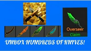 OMG NEW CODE GO GET IT QUICK!!!!!! ROBLOX (SHOWING MY WHOLE INV IN KNIFES XL P2)