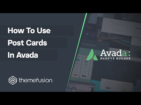 How To Use Post Cards in Avada Video