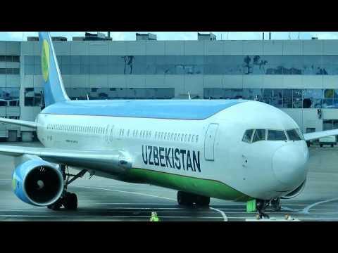 Uzbekistan Airways Boeing 767-300 ER. Pushback at Moscow Domodedovo Airport VP-BUF.