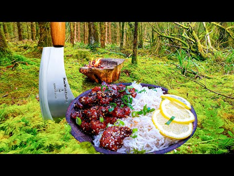 Lemon Crunchy Chicken cooked in the middle of the forest. ASMR cooking. NO TALK