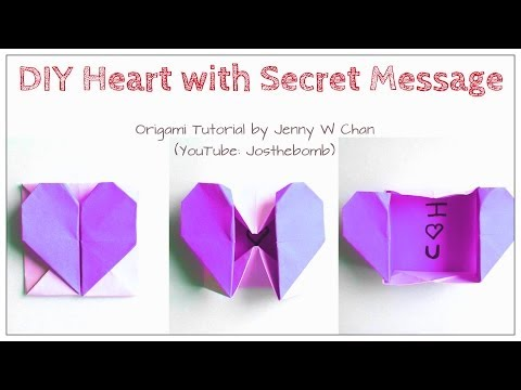 DIY Origami Heart Box & Envelope with Secret Message - Pop-Up Heart
