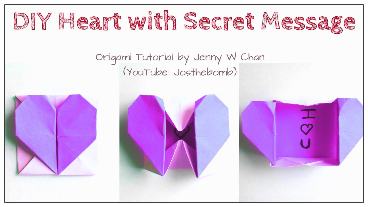 Papercraft DIY Origami Heart Box & Envelope with Secret Message - Pop-Up Heart