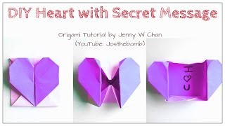 Diy Origami Heart Box / Envelope, Secret Message - Valentine's Day Crafts- Pop-up Heart - Kids,easy