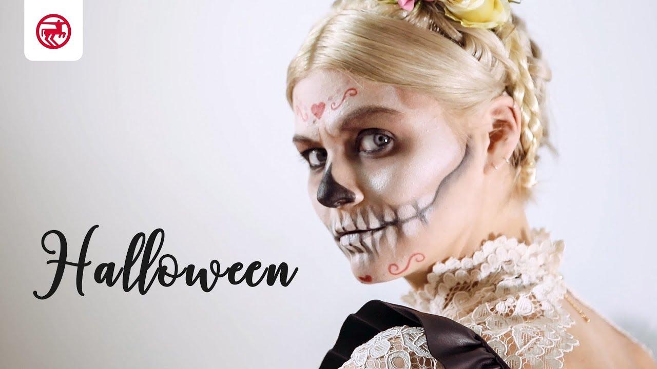 Halloween Schminke Bei Rossmann.Make Up Tutorial Fur Halloween Der Sugar Skull Look Youtube