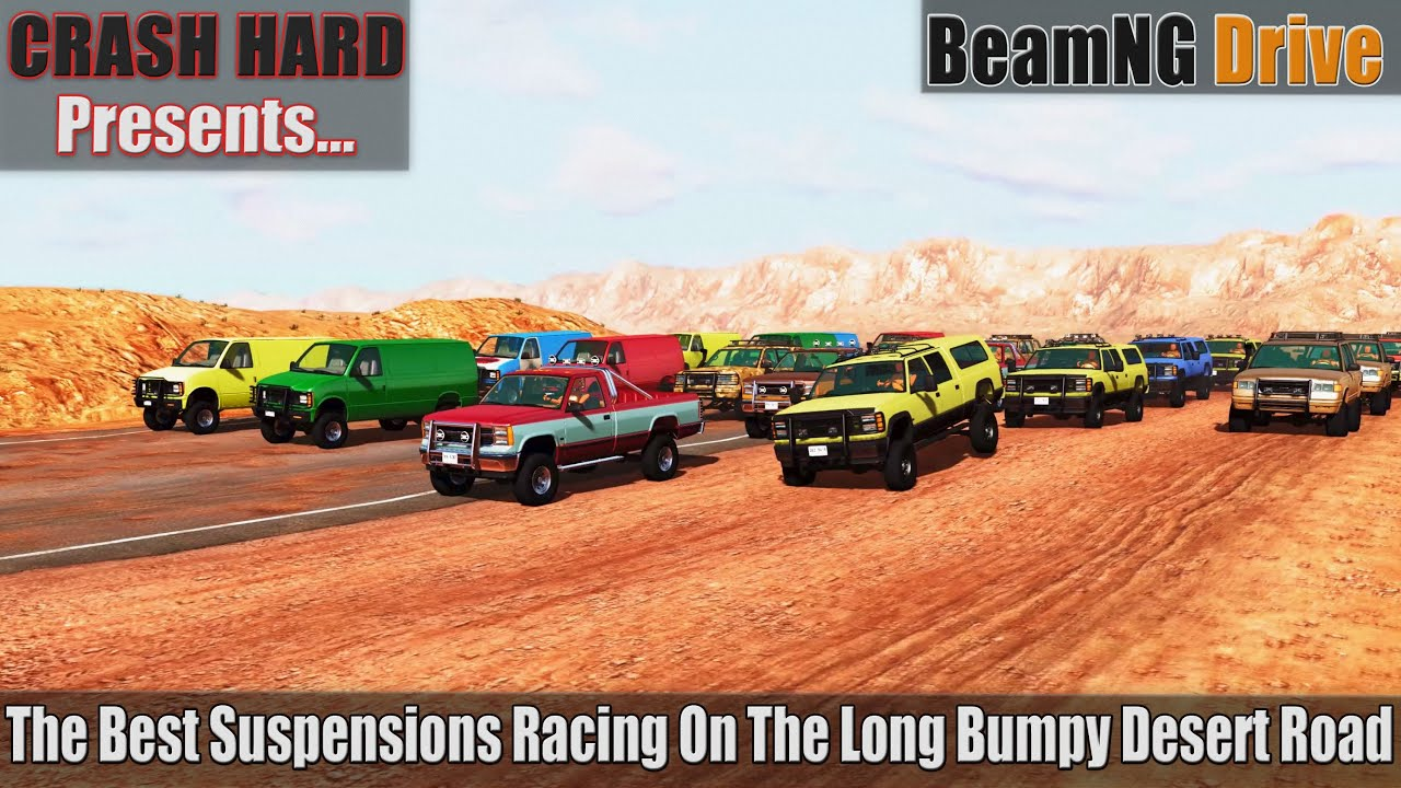 BeamNG Drive - The Best Suspensions Racing On The Long Bumpy Desert Road