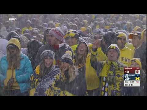 """Michigan Fans Chant """"Beat Ohio"""" in the Snow"""