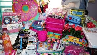 NEW and LARGE Dollar Tree Haul!!~ Lots of PINK!! Flamingos! Hello Kitty! Cupcakes!!