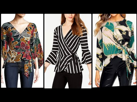 Gorgeously Design Full Sleeve Wrapped Front Top Blouses In Floral And Stripped Print Wrap Shirt/Top