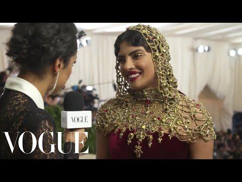 Priyanka Chopra on Her Intricate Beaded Headpiece   Met Gala 2018 With Liza Koshy   Vogue
