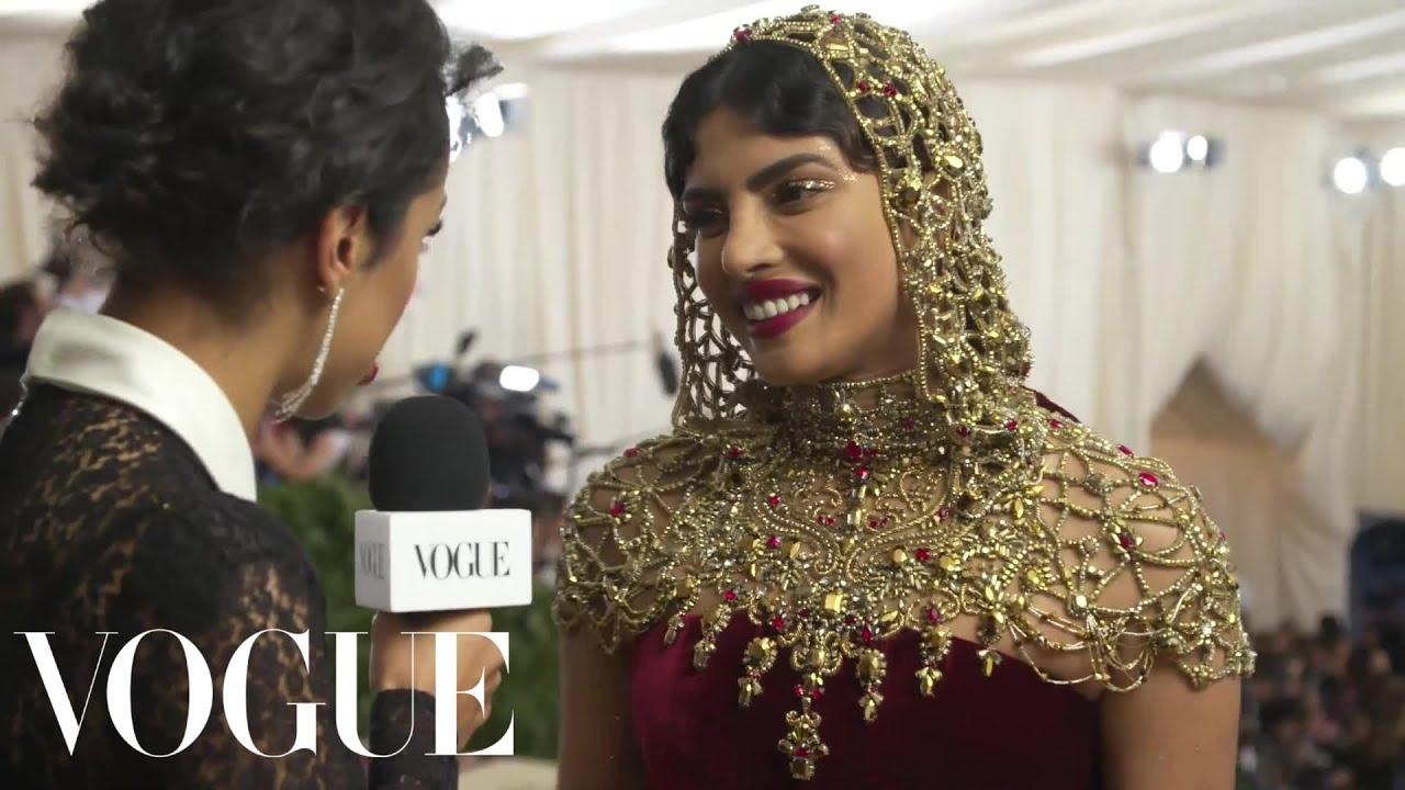 Download Priyanka Chopra on Her Intricate Beaded Headpiece | Met Gala 2018 With Liza Koshy | Vogue