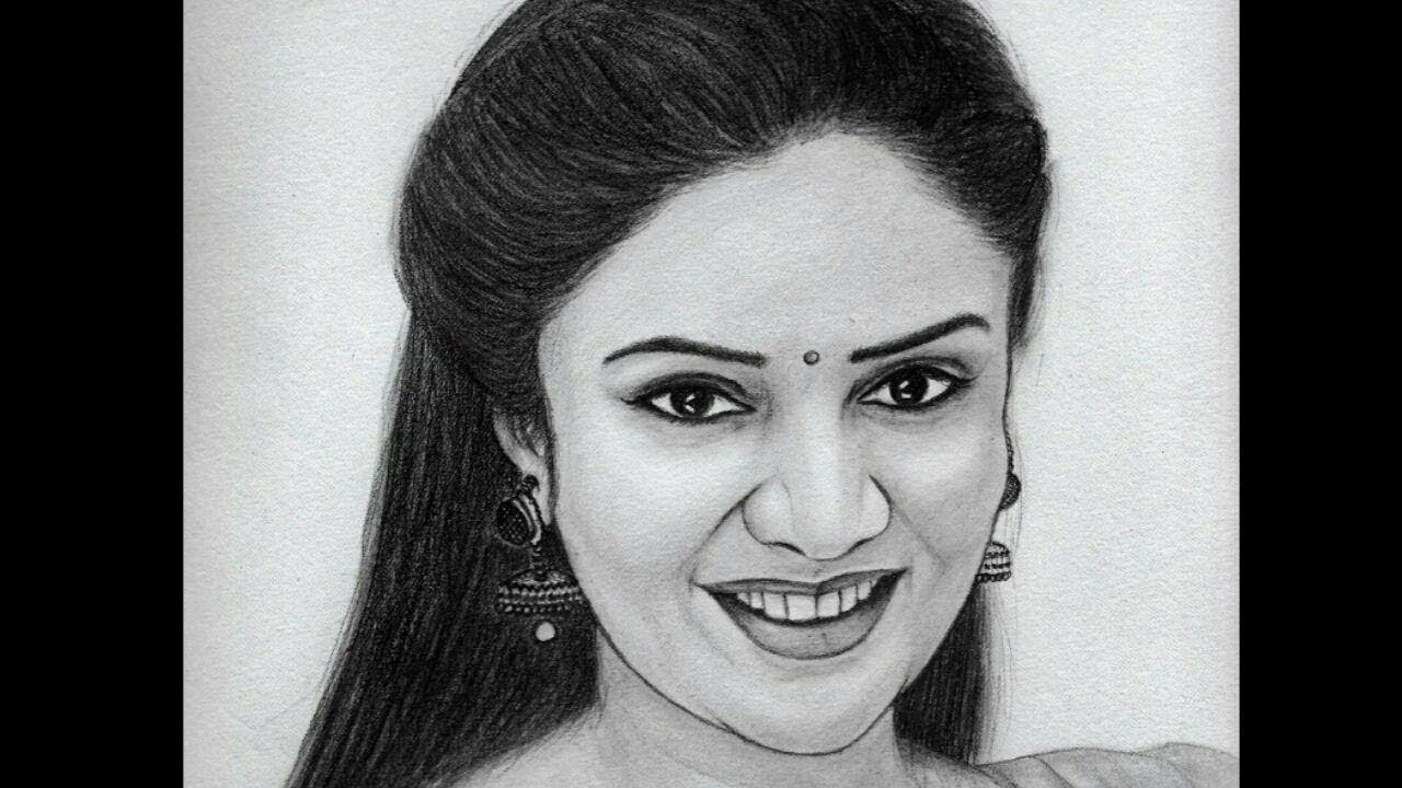 Sreemukhi s beautiful pencil sketch by peoplesfriendart drawing sreemukhi pataas queen