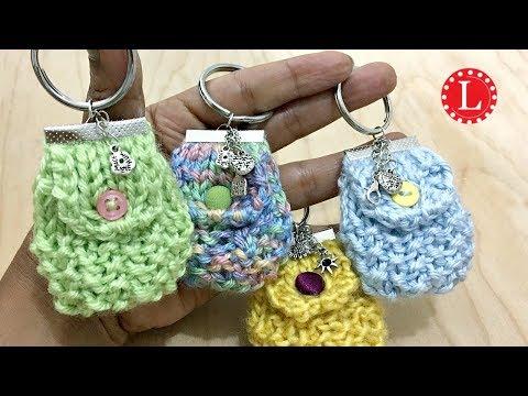 Knit Mini Bag Keychain  (on a Knitting Loom) Purse Keyring