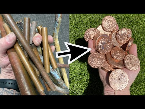 Melting Copper - Coins From SCRAP Copper Pipes - 1100°C+  ASMR Metal Melting - Molten Copper