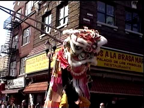 Yees Hung Ga 1998? Lion Dance in the Hispanic Day Parade Union City NJ Bergenline Ave