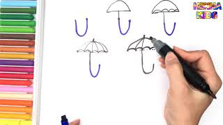 How To Draw and Color a Umbrella Easy Steps By Step ✅How To Teach Baby To Speak English