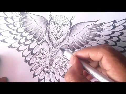 How To Draw The Owl -drawing The Owl To Tattoo- King Birt To Tattoo