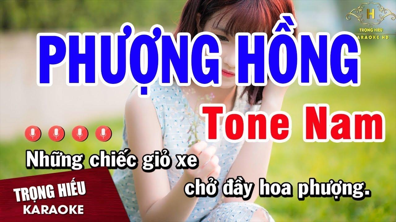 Karaoke Phượng Hồng Tone Nam Nhạc Sống | Trọng Hiếu