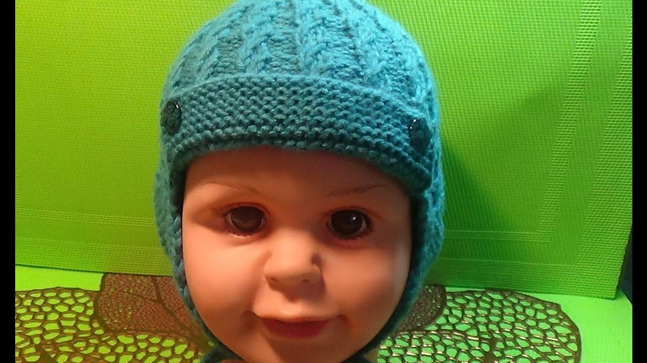 Вязаная спицами шапочка для мальчика