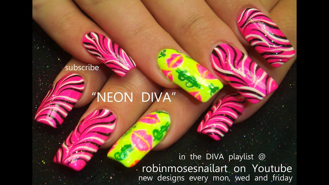 Black And White Zebra Print On Neon Pink Nails Design Tutorial Youtube