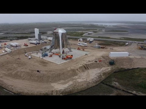 Live drone view of Hopper at SpaceX Boca Chica launch pad ...