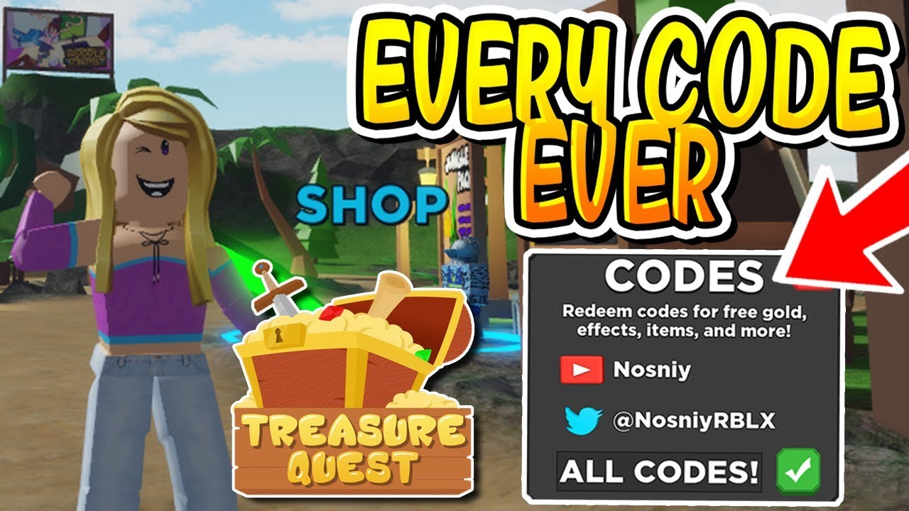 All Level Up Codes In Roblox Treasure Quest All Codes In Treasure Quest Roblox Youtube