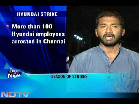 Hyundai workers on strike