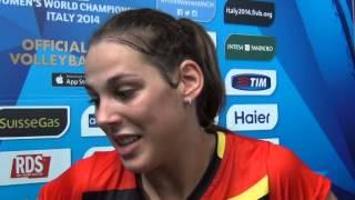 27-09-2014: barivolley2014 - Interviews after Belgium-Puertorico Charlotte Leyss (capitano Belgio)