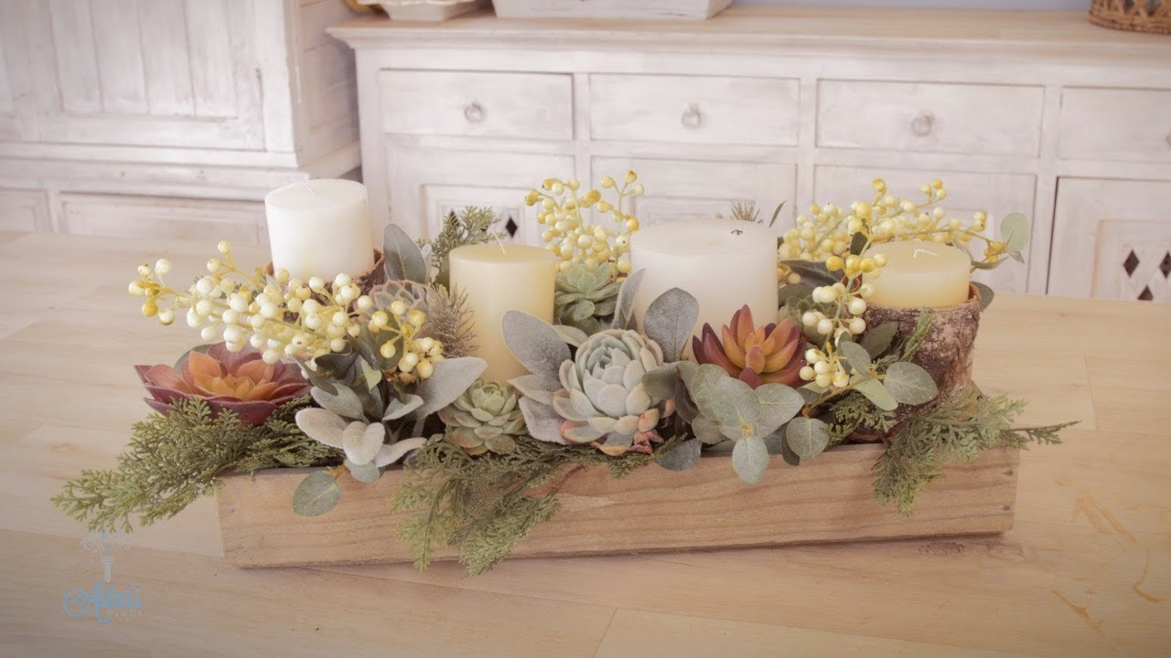 Christmas Succulent Centerpieces.Christmas Floristry Tutorial Candles Succulents And A Rustic Box