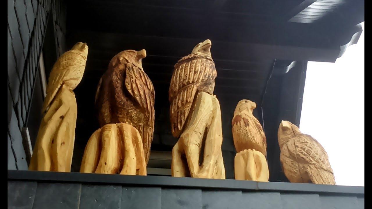 erste schnitzversuche mit der motorsage adler schnitzen mit der motorsage chainsaw wood carving