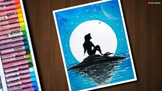 Mermaid Moonlight scenery drawing with Oil Pastels for beginners - step by step