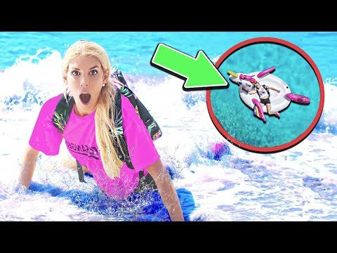 i WOKE UP in the OCEAN on an ABANDONED inflatable Unicorn! (trapped overnight in the water)