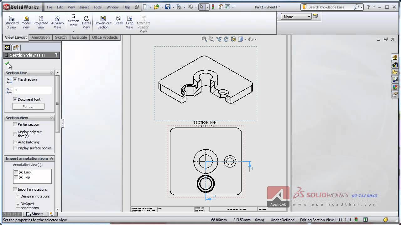 Section 3D ISO VIew In Drawing SolidWorks