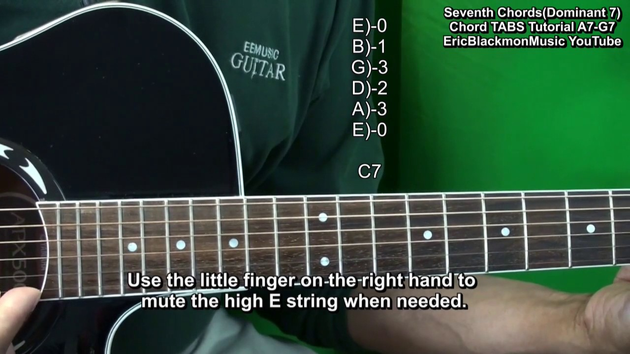 How To Play Dominant 7 Guitar Chords Tutorial A7 B7 C7 D7 E7 F7 G7